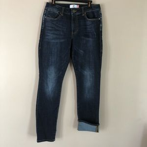 Cabi high rise straight leg dark distressed jean 8